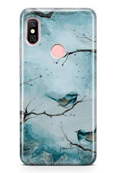 Lopard Xiaomi Redmi Note 6 Pro Kılıf Silikon Arka Kapak Koruyucu Mavi Kuş Desenli Yeşim Livaoğlu Tasarımı Renkli